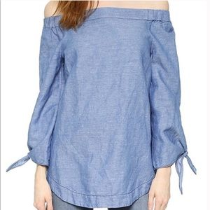 Free People Chambray Off Shoulder Blouse
